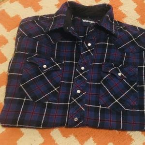 Wrangler large tall heavy plaid button up